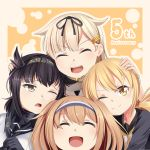 4girls :d ;o ;t ^_^ anchor_symbol anniversary black_hair blonde_hair brown_eyes brown_hair closed_eyes commentary_request eyebrows_visible_through_hair hair_flaps hair_ribbon hairband hatsuzuki_(kantai_collection) highres i-26_(kantai_collection) jewelry kantai_collection long_hair looking_at_viewer low_twintails multiple_girls one_eye_closed open_mouth ribbon ring satsuki_(kantai_collection) smile twintails underwear v-shaped_eyebrows wedding_band yasume_yukito yellow_eyes yuudachi_(kantai_collection)