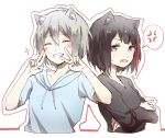 2girls ^_^ anger_vein animal_ears aoba_moka bang_dream! black_hair black_shirt blue_hoodie bob_cut cat_ears closed_eyes cropped_torso crossed_arms double_v drawstring fang grey_hair grin hair_between_eyes highres hood hood_down hoodie kemonomimi_mode long_sleeves mitake_ran multicolored_hair multiple_girls open_mouth outline redhead shirt short_hair short_sleeves smile sparkle spoken_anger_vein streaked_hair sweatdrop upper_body v v-neck violet_eyes white_background xuanwo_o
