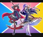 2girls blazblue:_cross_tag_battle boots commentary_request frilled_skirt frills hayami_saori high_heels iesupa multicolored_hair multiple_girls orie_(under_night_in-birth) pantyhose purple_hair ruby_rose rwby scythe seiyuu_connection skirt sword two-tone_hair under_night_in-birth weapon