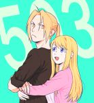 1boy 1girl :d black_shirt blonde_hair blue_background blue_eyes couple earrings edward_elric eyebrows_visible_through_hair fingernails frown fullmetal_alchemist hanayama_(inunekokawaii) happy height_difference hetero hug hug_from_behind jewelry long_hair long_sleeves looking_at_another looking_back looking_up number open_mouth pink_shirt ponytail serious shirt simple_background smile upper_body winry_rockbell yellow_eyes