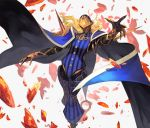 1boy avicebron_(fate) black_cape blue_cape cape commentary_request contrapposto debris fate/apocrypha fate_(series) feet_out_of_frame helm helmet highres lack male_focus multicolored multicolored_cape multicolored_clothes outstretched_arms solo spread_arms standing