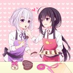 2boys :d ahoge apron black_hair chocolate cooking feeding fork gift_bag heart heart-shaped_box heart_background honebami_toushirou hyou_(pixiv3677917) male_focus multiple_boys namazuo_toushirou open_mouth ponytail ribbon smile touken_ranbu valentine violet_eyes white_hair
