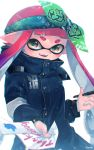 1girl :d bandanna bangs black_coat blunt_bangs blurry brown_eyes buttons chromatic_aberration coat commentary_request depth_of_field fang gradient_hair green_background high_collar highres holding holding_paper holding_pen hood hood_down hooded_coat inkling inkling_(language) kashu_(hizake) long_hair long_sleeves looking_at_viewer monster_girl multicolored_hair open_mouth paper pen pink_hair pointy_ears purple_hair reaching_out short_eyebrows signature smile solo splatoon splatoon_2 tentacle_hair thank_you twitter