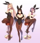 3girls :d animal_ears ass_visible_through_thighs bare_shoulders between_breasts black_hair blue_eyes blue_hair blush bow braid breasts brown_legwear bunny_girl bunny_tail bunnysuit cleavage commentary_request detached_collar double_w eyebrows_visible_through_hair fake_animal_ears folded_leg full_body hair_ornament hairband hairclip high_heels highres higuchi_kaede kagami_uekusa large_breasts leaning_forward leg_up leotard long_hair looking_at_viewer multiple_girls necktie necktie_between_breasts nijisanji open_mouth outstretched_hand pantyhose ponytail shizuka_rin short_hair silver_hair simple_background sitting smile standing standing_on_one_leg stool tail thigh_gap tsukino_mito twin_braids very_long_hair violet_eyes virtual_youtuber w wrist_cuffs yellow_eyes