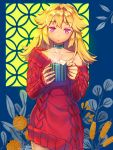 1girl :o aran_sweater bangs blonde_hair choker collarbone cowboy_shot cup eyebrows_visible_through_hair green_choker hair_intakes highres holding_mug long_hair looking_at_viewer mitake_eiru mug original pink_eyes plant red_sweater single_bare_shoulder sleeves_past_wrists steam sweater