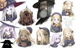 abigail_williams_(fate/grand_order) absurdres beard blonde_hair blue_eyes bow crying crying_with_eyes_open darkness expressions facial_hair fate/grand_order fate_(series) food grey_eyes grey_hair hat highres kan_(aaaaari35) keyhole lavinia_whateley_(fate/grand_order) matthew_hopkins_(fate) pancake purple_hair purple_skin red_eyes ribbon sharp_teeth tears teeth violet_eyes witch_hat