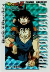 2boys :d black_eyes black_footwear black_hair blue_background brothers card_(medium) carrying clenched_hand copyright_name dougi dragon_ball dragonball_z english fingernails happy highres long_sleeves looking_at_another looking_at_viewer looking_up male_focus multiple_boys number official_art open_mouth piggyback scan scan_artifacts short_hair siblings simple_background sitting sleeveless smile son_gohan son_goten spiky_hair text_focus translation_request wristband
