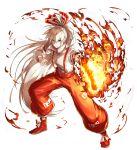 1girl ahoge burning_hand fire fujiwara_no_mokou hair_ribbon highres kan_(aaaaari35) long_hair pants ponytail red_eyes ribbon suspenders touhou very_long_hair white_hair