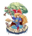 1girl :d bangs blue_bodysuit bodysuit charlotte_(seiken_densetsu_3) curly_hair eyebrows_visible_through_hair flail full_body hat holding holding_weapon jester_cap koshi_(meermisa) long_hair long_sleeves looking_at_viewer open_mouth pom_pom_(clothes) red_footwear red_hat seiken_densetsu seiken_densetsu_3 simple_background smile solo sun_(symbol) tabard teeth tree water weapon white_background