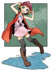 1girl :d arms_up bare_arms black_legwear blue_eyes blue_ribbon boots brown_footwear coat full_body hands_on_headwear hat io_naomichi leg_up legs_apart light_brown_hair miniskirt open_mouth palms pink_hat pink_skirt pink_vest pocket pokemon pokemon_(anime) pokemon_xy_(anime) red_coat ribbon serena_(pokemon) short_hair skirt skirt_set sleeveless sleeveless_coat smile solo standing standing_on_one_leg teeth thigh-highs tongue vest zettai_ryouiki