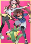 1boy 1girl :d aqua_eyes black_footwear black_legwear breasts bright_pupils brown_eyes brown_hair c-gear capri_pants collarbone double_bun eyelashes gen_5_pokemon io_naomichi kyouhei_(pokemon) leggings long_hair long_sleeves mei_(pokemon) navel open_mouth outline outstretched_arm pants pantyhose pantyhose_under_shorts poke_ball poke_ball_(generic) pokemon pokemon_(creature) pokemon_(game) pokemon_bw2 raglan_sleeves shirt_lift shoelaces shoes short_hair shorts small_breasts smile sneakers snivy stomach teeth tongue twintails v-shaped_eyebrows white_footwear white_pants white_pupils yellow_outline yellow_shorts