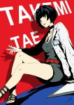 belt black_hair brown_eyes choker jewelry labcoat looking_at_viewer nail_polish necklace persona persona_5 sitting solo syringe takemi_tae text_focus werkbau