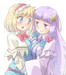 2girls alice_margatroid arnest asymmetrical_docking bangs blonde_hair blue_bow blue_eyes blush bow bowtie breast_press breasts capelet commentary_request crescent crescent_hair_ornament dress eyebrows_visible_through_hair hair_bow hair_ornament hairband long_hair medium_breasts multiple_girls open_mouth patchouli_knowledge purple_hair red_bow short_hair simple_background smile striped striped_dress touhou violet_eyes white_background yuri