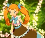 1girl :d alternate_hair_color ame_(ame025) blue_bow blue_eyes blue_ribbon blurry blurry_background bow brown_skirt buttons commentary_request eyelashes frills glove_bow gloves hair_ornament hair_ribbon hairclip light_blush long_hair necktie open_mouth orange_hair pokemon pokemon_(anime) pokemon_xy_(anime) ribbon serena_(pokemon) shirt skirt smile solo tongue twintails white_gloves white_shirt