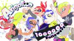 3boys 3girls ^_^ blonde_hair blue_eyes blue_hair closed_eyes commentary_request dark_skin grey_eyes high_five highres hug inkling inoue_seita long_sleeves midriff miniskirt mohawk multiple_boys multiple_girls octoling redhead shirt short_hair shorts simple_background skirt splatoon splatoon_2 t-shirt tan tentacle_hair thank_you topknot white_background white_shirt yellow_eyes