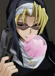1girl black_eyes black_lagoon blonde_hair breasts bubble_blowing chewing_gum cross cross_necklace eda_(black_lagoon) eyebrows eyelashes finger_on_trigger fingernails grey_background gun habit hair_intakes handgun holding holding_gun holding_weapon io_naomichi jewelry long_fingernails medium_breasts necklace nun open_mouth short_hair simple_background smile solo sunglasses turtleneck upper_body weapon