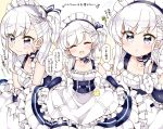 1girl :t apron azur_lane bangs belfast_(azur_lane) blush braid chains closed_eyes collar collarbone commentary_request corset crying crying_with_eyes_open eyebrows_visible_through_hair french_braid frilled_apron frilled_gloves frills gloves highres kanjitomiko long_hair looking_at_viewer maid maid_apron maid_headdress multiple_views open_mouth pout silver_hair speech_bubble tears translation_request white_apron white_gloves younger