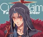 1boy akino_sora bangs blue_hair character_name copyright_name cu_chulainn_alter_(fate/grand_order) earrings facial_mark fate/grand_order fate_(series) gae_bolg green_background holding holding_weapon hood hood_up hooded_robe jewelry lance looking_at_viewer male_focus parted_lips polearm red_eyes robe simple_background solo upper_body weapon