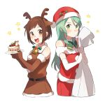 2girls :d animal_costume antlers aqua_hair bang_dream! bangs bell belt blush bob_cut bow bowtie brown_eyes brown_gloves brown_hair brown_shirt brown_skirt cake christmas elbow_gloves fake_antlers food fur_trim gloves green_eyes green_neckwear hat hazawa_tsugumi hikawa_sayo holding holding_plate holly long_hair multiple_girls open_mouth plate pom_pom_(clothes) red_hat red_shirt reindeer_antlers reindeer_costume round_teeth sack santa_costume santa_hat shirt short_hair simple_background skirt slice_of_cake smile star sweatdrop teeth unapoppo upper_teeth white_background white_gloves