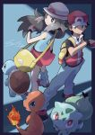 1boy 1girl back-to-back backpack bag bare_shoulders baseball_cap blue_(pokemon) blue_border blue_legwear blue_pants blue_shirt border breasts bright_pupils brown_eyes brown_hair bulbasaur charmander closed_mouth fire gen_1_pokemon handbag hat holding holding_poke_ball io_naomichi legs_apart long_hair looking_at_viewer loose_socks miniskirt pants pleated_skirt pocket poke_ball poke_ball_(generic) poke_ball_theme pokemon pokemon_(creature) pokemon_(game) pokemon_frlg red_(pokemon) red_(pokemon)_(remake) red_hat red_skirt shirt shoes short_hair short_sleeves skirt small_breasts smile squirtle standing tank_top white_hat white_pupils wristband