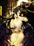 1boy 1girl ainz_ooal_gown albedo black_hair black_wings breasts demon_girl demon_horns demon_wings detached_collar dress feathered_wings feathers gloves hair_between_eyes hands_on_own_face highres hip_vent hood horns large_breasts lich long_hair low_wings mozuyun overlord_(maruyama) skeleton skull slit_pupils smile standing white_dress white_gloves wings yellow_eyes