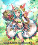1girl animal_hood aqua_hair bad_hands belt belt_pouch blue_sky braid breasts brown_gloves clouds day gloves hair_ornament hokuyuu holding holding_weapon hood leaf_bra mace medium_breasts navel official_art outdoors petals plant red_eyes skirt sky standing standing_on_one_leg tree twin_braids vines watermark weapon white_hood white_skirt wixoss
