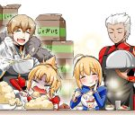 ahoge apron archer artoria_pendragon_(all) blonde_hair blush cape crying dark_skin dessert eating fang fate/grand_order fate_(series) food fruit gawain_(fate/extra) happy highres kanno_takanori mashed_potatoes mordred_(fate) mordred_(fate)_(all) omelet ponytail saber sparkle spoon strawberry white_hair
