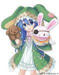 1girl :d animal_hood blue_eyes blue_hair bunny_hood collarbone date_a_live dress eyebrows_visible_through_hair green_coat hair_between_eyes head_tilt hood hooded_coat konoe_(fogtracks) layered_dress long_hair looking_at_viewer open_mouth smile solo standing transparent_background very_long_hair white_dress yoshino_(date_a_live) yoshinon