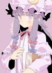 1girl banana_takemura book bow capelet crescent crescent_hair_ornament dress hair_ornament hair_ribbon hat highres holding holding_book long_hair looking_at_viewer mob_cap patchouli_knowledge purple_background purple_hair red_bow ribbon striped striped_dress touhou violet_eyes