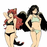 2girls animal_ears arm_behind_head bird_wings black_bra black_eyes black_hair black_panties black_wings blush bra breast_envy breasts cat_ears cat_tail closed_mouth flat_chest green_panties hair_down hand_on_hip kaenbyou_rin long_hair looking_at_another medium_breasts multiple_girls multiple_tails navel panties pointy_ears redhead reiuji_utsuho simple_background smile standing tail touhou underwear white_background wings yudepii