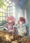 2girls :d blush brown_hair brown_jacket cape chair commentary_request copyright_request glint gloves hair_intakes hammer highres holding indoors jacket long_hair long_sleeves multiple_girls naruse_chisato on_chair one_eye_closed open_clothes open_jacket open_mouth parted_lips pink_hair pink_shirt red_eyes sapphire_(stone) saw shirt short_hair sidelocks sitting smile table upper_teeth very_long_hair violet_eyes white_cape white_gloves white_shirt window