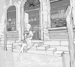12girl ahoge blush canal character_request closed_eyes copyright_request greyscale highres lamp long_hair monochrome open_door osu5i plant skirt skirt_lift soaking_feet solo spread_legs stairs water wings