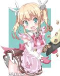 1girl apron bangs blonde_hair blush breasts brown_shirt brown_skirt bunny_hair_ornament checkerboard_cookie chocolate_chip_cookie collared_shirt commentary_request cookie detached_sleeves eyebrows_visible_through_hair fang food frilled_apron frills green_background green_eyes hair_ornament hamada_pengin head_tilt highres long_hair long_sleeves medium_breasts open_mouth original oven_mitts pink_apron pleated_skirt shirt sidelocks skirt solo twintails two-tone_background white_background