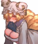 1girl alternate_eye_color bangs blonde_hair blush breasts brown_eyes cleavage dress dress_lift embarrassed fox_tail frilled_shirt_collar frills hair_between_eyes hair_over_one_eye hat highres leaning_forward long_sleeves looking_to_the_side masanaga_(tsukasa) medium_breasts mouth_hold multiple_tails pillow_hat reflective_eyes sarashi shiny shiny_hair short_hair simple_background sketch solo sweat sweatdrop tabard tabard_lift tail touhou upper_body white_background white_dress yakumo_ran