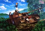 absurdres ahoge akiyama_yukari anglerfish antennae binoculars black_hair boots brown_eyes brown_hair bush clouds emblem girls_und_panzer gloves ground_vehicle hairband head_rest headphones highres isuzu_hana landscape leaf military military_vehicle motor_vehicle mud multiple_girls nishizumi_miho official_art ooarai_(emblem) ooarai_military_uniform open_mouth orange_eyes orange_hair panzerkampfwagen_iv pleated_skirt radio reizei_mako rock sitting skirt sky smile socks standing sugimoto_isao takebe_saori tank tank_turret toolbox tree vegetation vehicle wrench