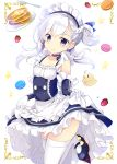1girl animal apron azur_lane bangs bare_shoulders belfast_(azur_lane) bird black_footwear black_ribbon blue_dress blush braid breasts butter closed_mouth collarbone commentary_request dress eyebrows_visible_through_hair food fork fruit gloves hair_between_eyes hair_ribbon head_tilt long_hair looking_at_viewer macaron maid_headdress maruchan. one_side_up pancake plate ribbon shoes silver_hair skirt_hold sleeveless sleeveless_dress small_breasts smile solo stack_of_pancakes standing standing_on_one_leg star strawberry syrup thigh-highs violet_eyes waist_apron white_apron white_background white_gloves white_legwear younger