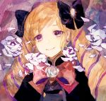 1girl blonde_hair bow drill_hair elise_(fire_emblem_if) fire_emblem fire_emblem_if flower hair_bow looking_at_viewer petals rose rose_petals smile solo traditional_media twin_drills violet_eyes watercolor_(medium)