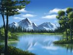 artist_name clouds commentary english_commentary forest grass lake making_of mclelun mountain nature no_humans original outdoors reflection scenery tree