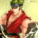 1boy aura clenched_hand cosplay dougi fingerless_gloves forehead_protector genji_(overwatch) gloves green_hair ken_masters ken_masters_(cosplay) moize_opel muscle overwatch short_hair solo sparrow_genji street_fighter younger