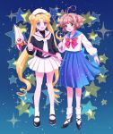 2girls bishoujo_senshi_sailor_moon black_shirt blonde_hair blue_background blue_eyes blue_sailor_collar blue_skirt bow brown_hair card_captor_sakura cosplay costume_switch double_bun full_body fuuin_no_tsue green_eyes hat juuban_middle_school_uniform kinomoto_sakura kinomoto_sakura_(cosplay) kisumi_rei magical_girl moon_stick multiple_girls pleated_skirt red_bow sailor_collar sailor_hat school_uniform serafuku shirt short_hair skirt standing star starry_background tomoeda_elementary_school_uniform tsukino_usagi tsukino_usagi_(cosplay) twintails white_sailor_collar white_skirt
