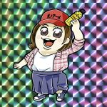 1girl arm_up bkub blue_footwear blue_skirt blush_stickers bottle brown_eyes brown_hair checkered checkered_background flannel hat holding holding_bottle kirin_(company) long_shirt looking_at_viewer meme multicolored multicolored_background open_clothes open_mouth open_shirt plaid plaid_shirt pose red_hat shirt shoes short_hair skirt smile solo undershirt