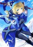 119 1girl ahoge artoria_pendragon_(all) belt bent_over black_pants blonde_hair blue_coat blue_eyes blue_gloves blue_hat dark_excalibur dual_wielding excalibur eyebrows_visible_through_hair fate/grand_order fate_(series) gloves hat holding holding_sword holding_weapon looking_at_viewer mysterious_heroine_x pants short_hair smile solo star star_print sword weapon