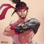 1boy abs arm_tattoo black_hair cosplay crossed_arms facial_hair gloves goatee hanzo_(overwatch) headband male_focus moize_opel muscle off_shoulder overwatch red_gloves ryuu_(street_fighter) ryuu_(street_fighter)_(cosplay) short_hair solo street_fighter tattoo thick_eyebrows topknot