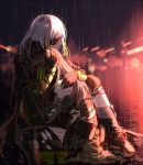 2girls arm_strap armband armor bangs blonde_hair blurry blurry_background boots braid brown_hair clothes_around_waist crying damaged digi-mind_update_(girls_frontline) eyepatch girls_frontline gloves green_hair hand_on_another's_arm head_hug jacket jacket_around_waist knee_boots knee_pads lights long_hair m16a1_(girls_frontline) m4a1_(girls_frontline) multicolored_hair multiple_girls night parted_lips pouch rain ripples scar scar_across_eye scarf silence_girl sitting spoilers streaked_hair thigh-highs thigh_strap torn_clothes wet white_hair