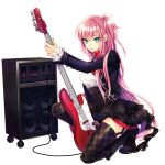 1girl bass_guitar black_footwear black_legwear black_skirt blue_eyes boots dress_shirt full_body hair_between_eyes high-waist_skirt holding holding_instrument instrument layered_skirt long_hair looking_at_viewer megurine_luka miniskirt one_knee one_side_up open_mouth pink_hair red_neckwear renta_(deja-vu) shirt simple_background skirt solo thigh-highs very_long_hair vocaloid white_background white_shirt