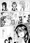 +++ 3girls :3 ^_^ ^o^ ahoge animal braid cat closed_eyes comic commentary_request greyscale hair_between_eyes hair_flaps hairband highres holding holding_spoon kagerou_(kantai_collection) kantai_collection long_hair monochrome multiple_girls munmu-san open_mouth pleated_skirt remodel_(kantai_collection) school_uniform serafuku shigure_(kantai_collection) shiratsuyu_(kantai_collection) shirt short_hair short_sleeves single_braid skirt smile speech_bubble spoon translation_request twintails vest