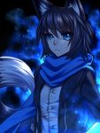 1girl :o animal_ears black_hair black_jacket blue blue_eyes blue_scarf borrowed_character eyebrows_visible_through_hair fox_ears fox_tail gloves jacket konshin light_particles long_sleeves nanashi_(ganesagi) original parted_lips scarf shirt short_hair slit_pupils solo tail upper_body white_shirt