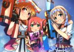 3girls :p ajapar ascot bangs black_gloves blue_background blue_eyes braid checkered commentary_request cross-laced_clothes cyaron_(love_live!) frilled_skirt frills gloves green_eyes grey_hair grin hachimaki hat headband holding_water_gun kinmirai_happy_end kurosawa_ruby looking_at_viewer love_live! love_live!_sunshine!! multiple_girls orange_hair red_eyes short_sleeves side_braid skirt smile sparkle takami_chika tongue tongue_out two_side_up watanabe_you water_gun white_neckwear
