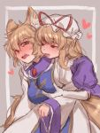 2girls animal_ears bangs behind_another beige_background blonde_hair blush breast_grab dress elbow_gloves embarrassed fox_ears fox_tail gloves grabbing grabbing_from_behind hair_between_eyes half-closed_eyes hat hat_ribbon highres long_sleeves looking_at_another masanaga_(tsukasa) mob_cap multiple_girls multiple_tails no_hat no_headwear nose_blush purple_dress ribbon shiny shiny_hair short_hair short_sleeves sidelocks tabard tail touhou white_gloves wide_sleeves yakumo_ran yakumo_yukari yuri