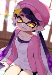 +_+ 1girl absurdres ao_hito aori_(splatoon) beanie earrings eyes_visible_through_hair fang hair_ornament hat highres jacket jewelry looking_at_viewer mole mole_under_eye open_mouth pink_jacket pointy_ears purple_hair sitting smile solo splatoon splatoon_2 symbol-shaped_pupils tentacle_hair window yellow_eyes